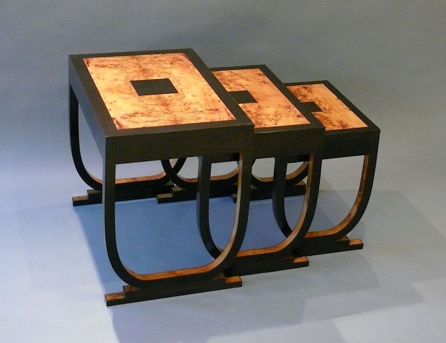 Christine layton handmade furniture my clients had found it difficult to find a useful nest of tables in an art deco style so asked me to make three tables that are both practical and pretty watchthetrailerfo